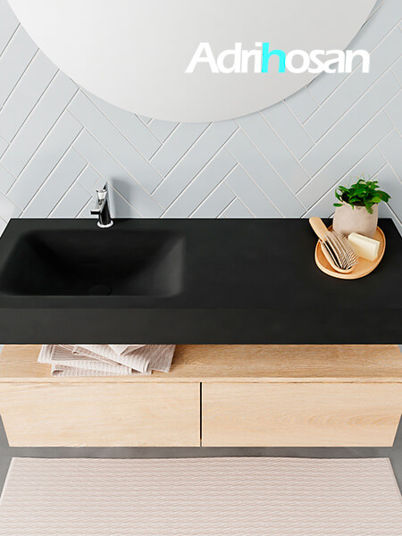 Badmeubel met solid surface wastafel model ALAN zwart kast washedoak top 00029 1