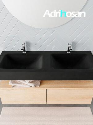 Badmeubel met solid surface wastafel model ALAN zwart kast washedoak top 00031 1