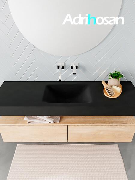 Badmeubel met solid surface wastafel model ALAN zwart kast washedoak top 00032 1