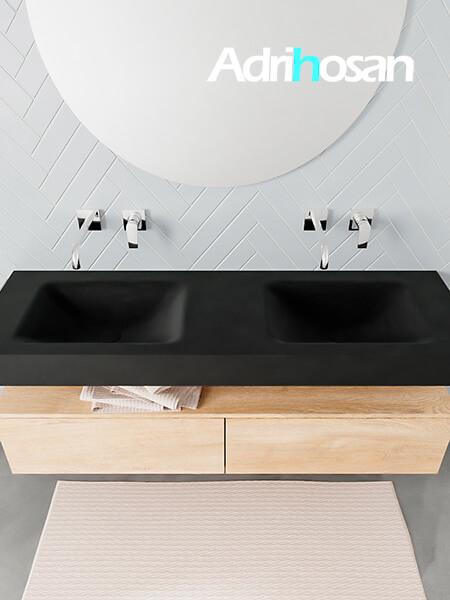 Badmeubel met solid surface wastafel model ALAN zwart kast washedoak top 00035 1