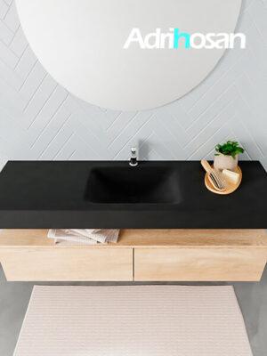 Badmeubel met solid surface wastafel model ALAN zwart kast washedoak top 00036 1