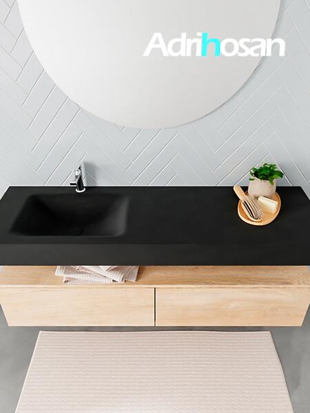 Badmeubel met solid surface wastafel model ALAN zwart kast washedoak top 00037 1