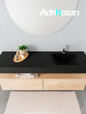 Badmeubel met solid surface wastafel model ALAN zwart kast washedoak top 00038 1