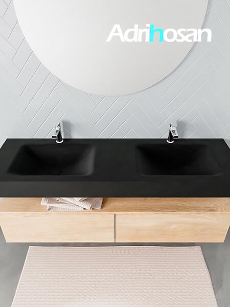 Badmeubel met solid surface wastafel model ALAN zwart kast washedoak top 00039 1