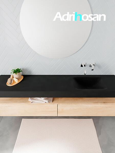 Badmeubel met solid surface wastafel model ALAN zwart kast washedoak top 00042 1