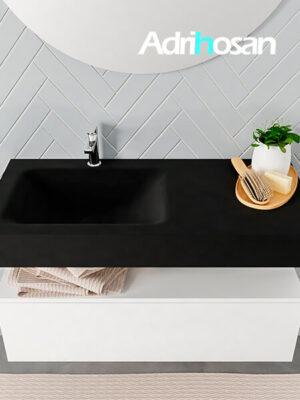 Badmeubel met solid surface wastafel model ALAN zwart kast white top 00006 1
