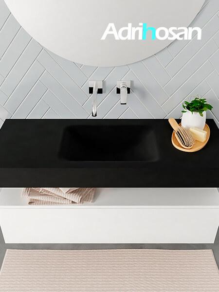 Badmeubel met solid surface wastafel model ALAN zwart kast white top 00008 1