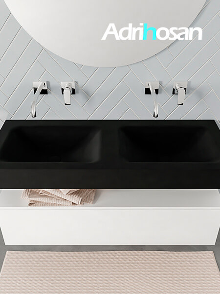 Badmeubel met solid surface wastafel model ALAN zwart kast white top 00011 1