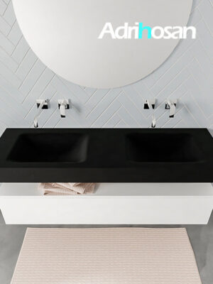 Badmeubel met solid surface wastafel model ALAN zwart kast white top 00019 1