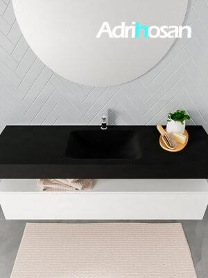 Badmeubel met solid surface wastafel model ALAN zwart kast white top 00020 1
