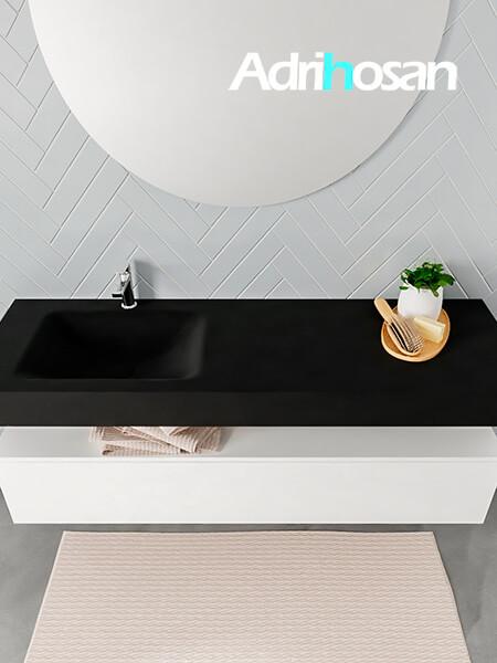 Badmeubel met solid surface wastafel model ALAN zwart kast white top 00021 1