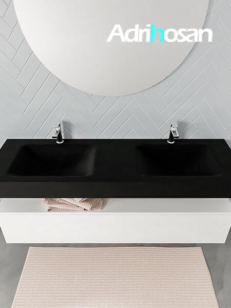 Badmeubel met solid surface wastafel model ALAN zwart kast white top 00023 1