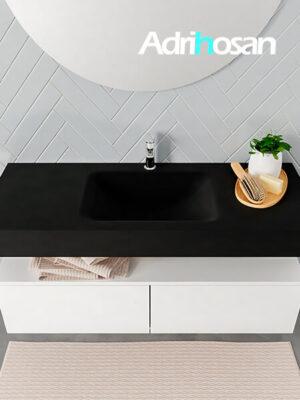 Badmeubel met solid surface wastafel model ALAN zwart kast white top 00028 1