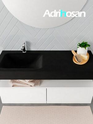Badmeubel met solid surface wastafel model ALAN zwart kast white top 00029 1