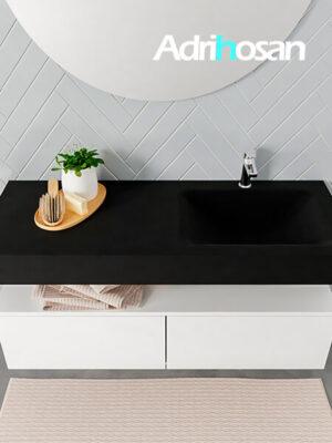 Badmeubel met solid surface wastafel model ALAN zwart kast white top 00030 1