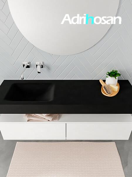 Badmeubel met solid surface wastafel model ALAN zwart kast white top 00033 1