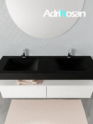 Badmeubel met solid surface wastafel model ALAN zwart kast white top 00039 1