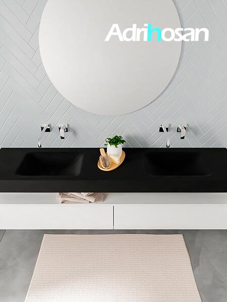 Badmeubel met solid surface wastafel model ALAN zwart kast white top 00043 1