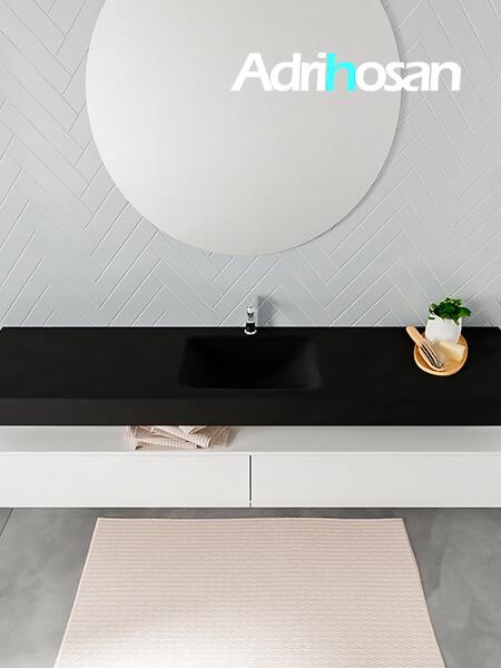 Badmeubel met solid surface wastafel model ALAN zwart kast white top 00044 1
