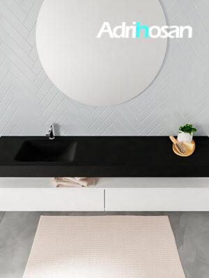 Badmeubel met solid surface wastafel model ALAN zwart kast white top 00045 1