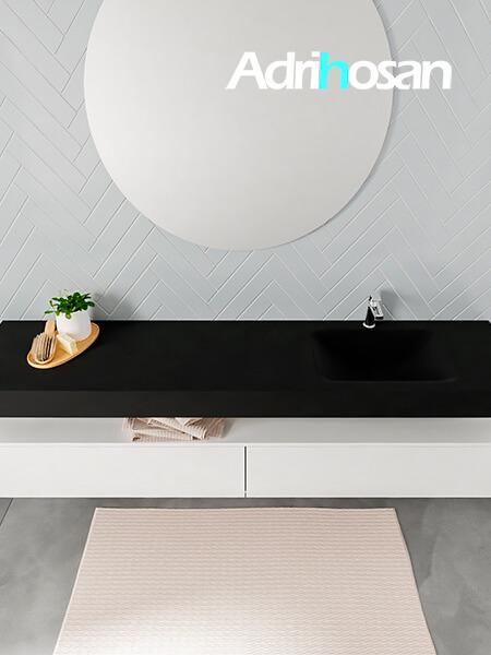 Badmeubel met solid surface wastafel model ALAN zwart kast white top 00046 1