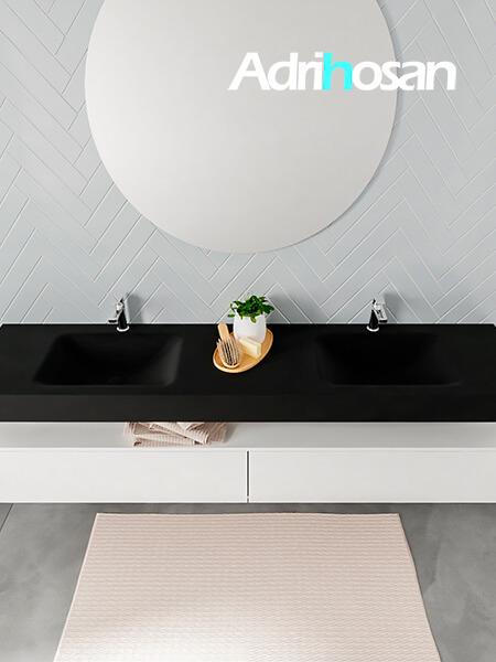 Badmeubel met solid surface wastafel model ALAN zwart kast white top 00047 1