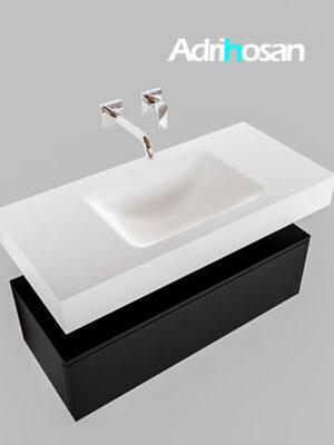 Badmeubel met solid surface wastafel model Google ALAN wit kast mat zwart0002 1