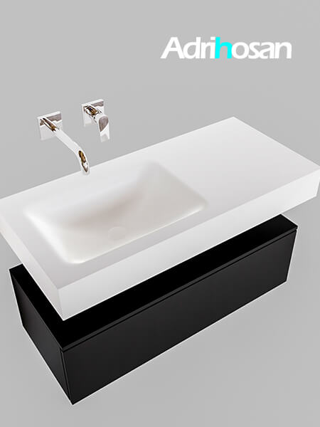 Badmeubel met solid surface wastafel model Google ALAN wit kast mat zwart0003 1