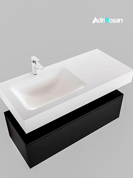 Badmeubel met solid surface wastafel model Google ALAN wit kast mat zwart0006 3