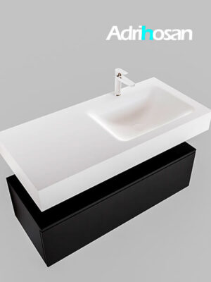 Badmeubel met solid surface wastafel model Google ALAN wit kast mat zwart0007 1