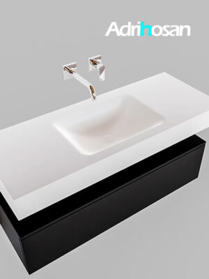 Badmeubel met solid surface wastafel model Google ALAN wit kast mat zwart0008 1