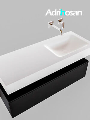 Badmeubel met solid surface wastafel model Google ALAN wit kast mat zwart0010 1