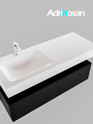Badmeubel met solid surface wastafel model Google ALAN wit kast mat zwart0013 1
