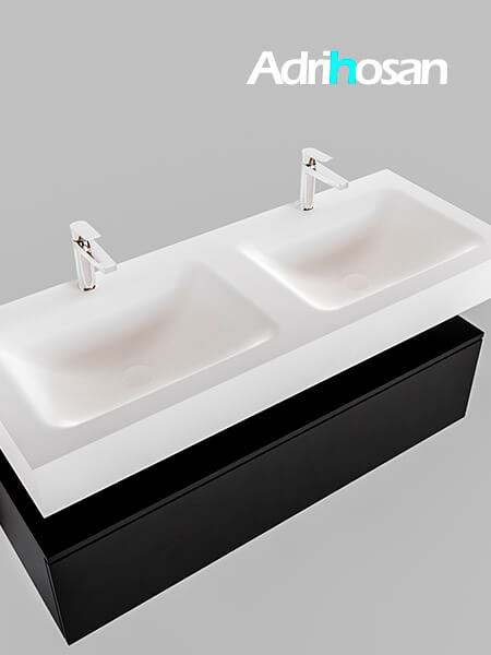 Badmeubel met solid surface wastafel model Google ALAN wit kast mat zwart0015 1