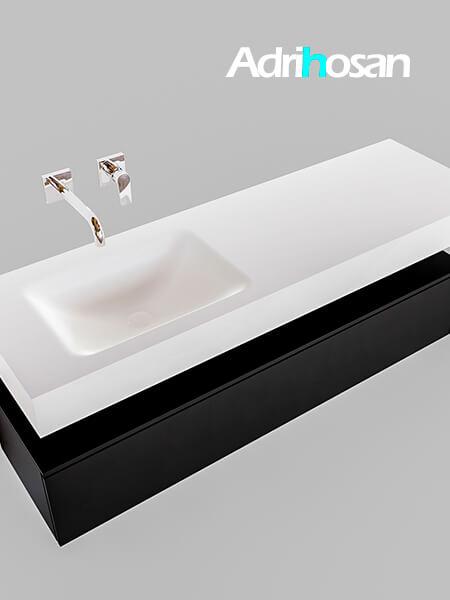 Badmeubel met solid surface wastafel model Google ALAN wit kast mat zwart0017 1