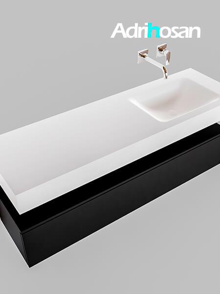 Badmeubel met solid surface wastafel model Google ALAN wit kast mat zwart0018 1