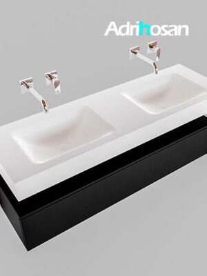 Badmeubel met solid surface wastafel model Google ALAN wit kast mat zwart0019 1