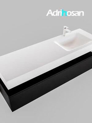Badmeubel met solid surface wastafel model Google ALAN wit kast mat zwart0022 1
