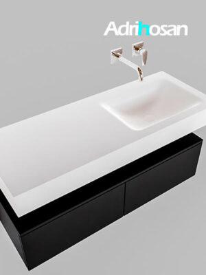 Badmeubel met solid surface wastafel model Google ALAN wit kast mat zwart0026 1