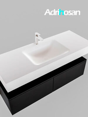 Badmeubel met solid surface wastafel model Google ALAN wit kast mat zwart0028 1