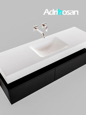 Badmeubel met solid surface wastafel model Google ALAN wit kast mat zwart0032 1