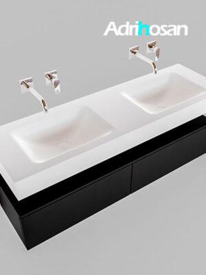 Badmeubel met solid surface wastafel model Google ALAN wit kast mat zwart0035 1