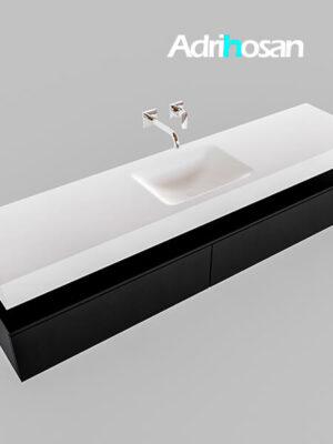 Badmeubel met solid surface wastafel model Google ALAN wit kast mat zwart0040 1