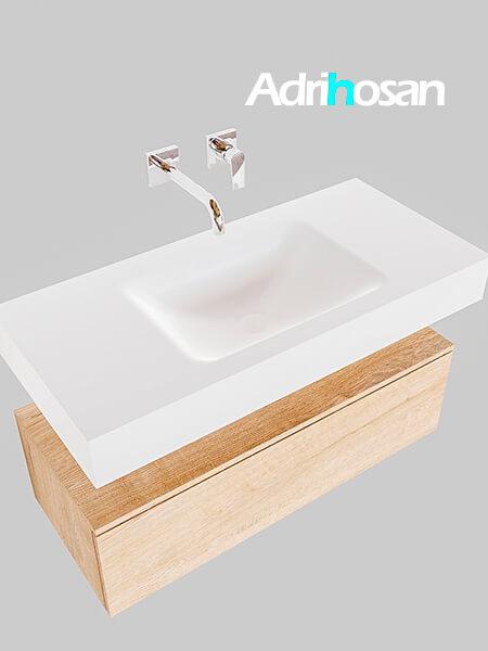Badmeubel met solid surface wastafel model Google ALAN wit kast washed oak0002 1