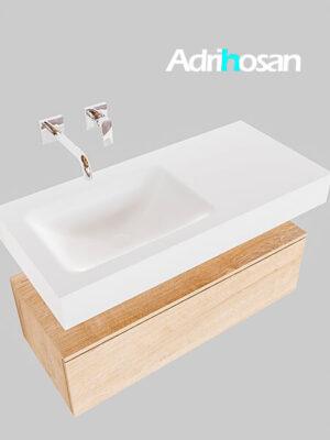Badmeubel met solid surface wastafel model Google ALAN wit kast washed oak0003 1