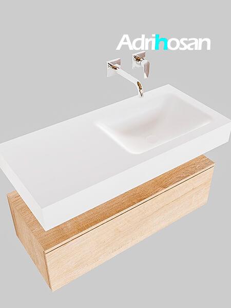 Badmeubel met solid surface wastafel model Google ALAN wit kast washed oak0004 1