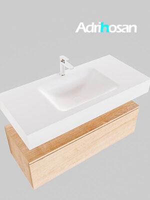 Badmeubel met solid surface wastafel model Google ALAN wit kast washed oak0005 1