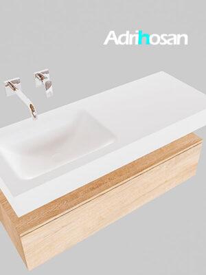 Badmeubel met solid surface wastafel model Google ALAN wit kast washed oak0009 1