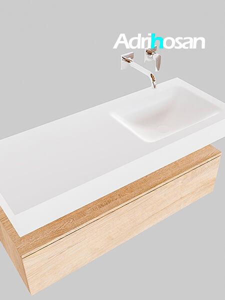 Badmeubel met solid surface wastafel model Google ALAN wit kast washed oak0010 1