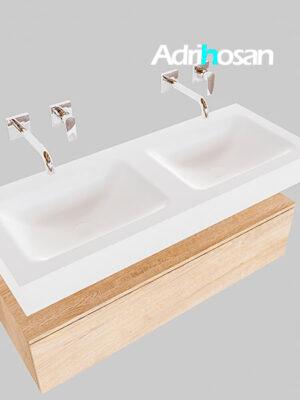 Badmeubel met solid surface wastafel model Google ALAN wit kast washed oak0011 1